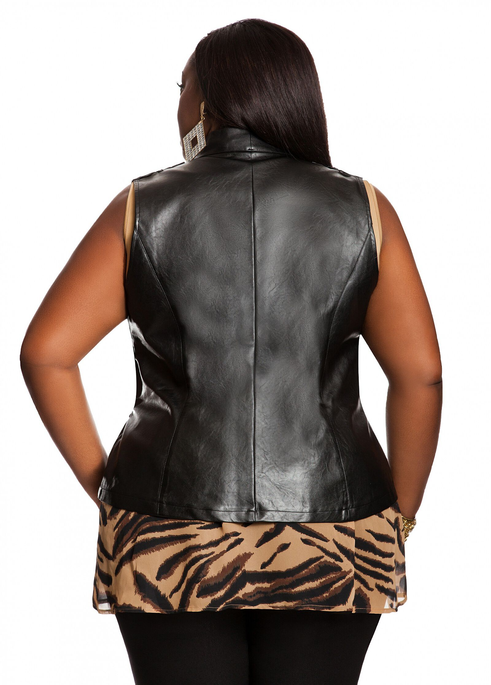Faux Leather Printed Vest