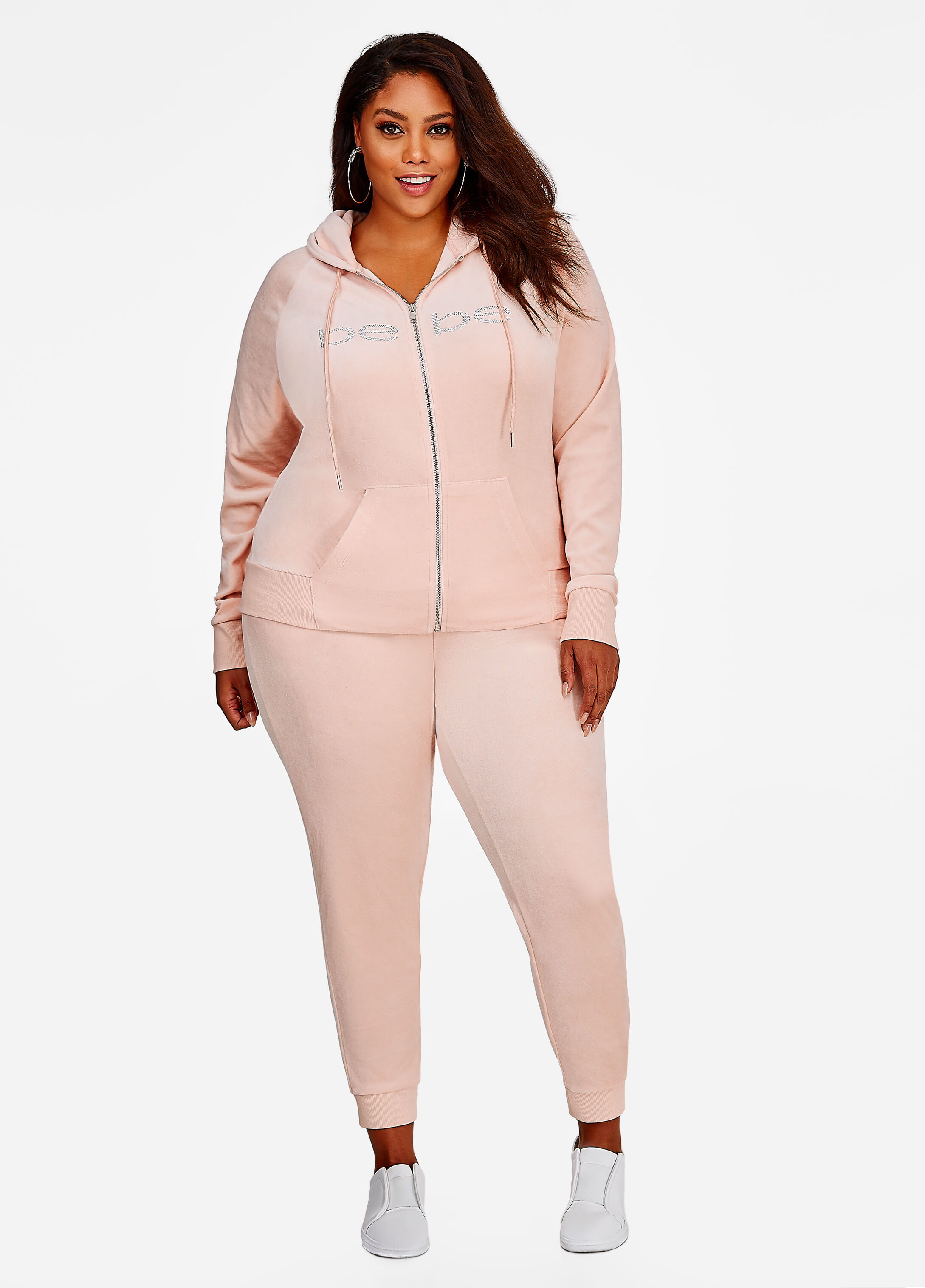 Plus Size Outfits - Bebe Velour Active Set in Pale Pink