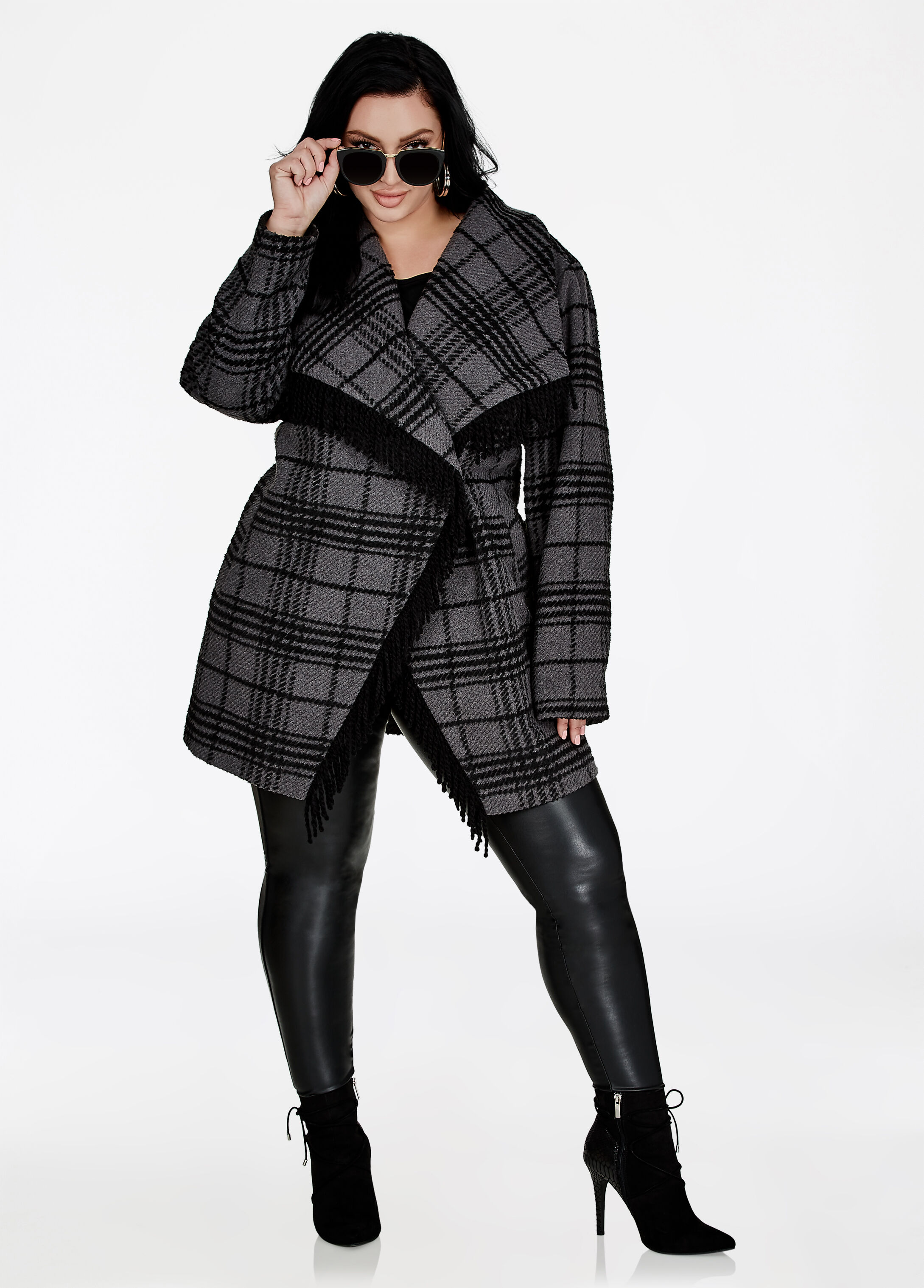 Plus Size Outfits - Colorblock Coat with Faux Leather Legging