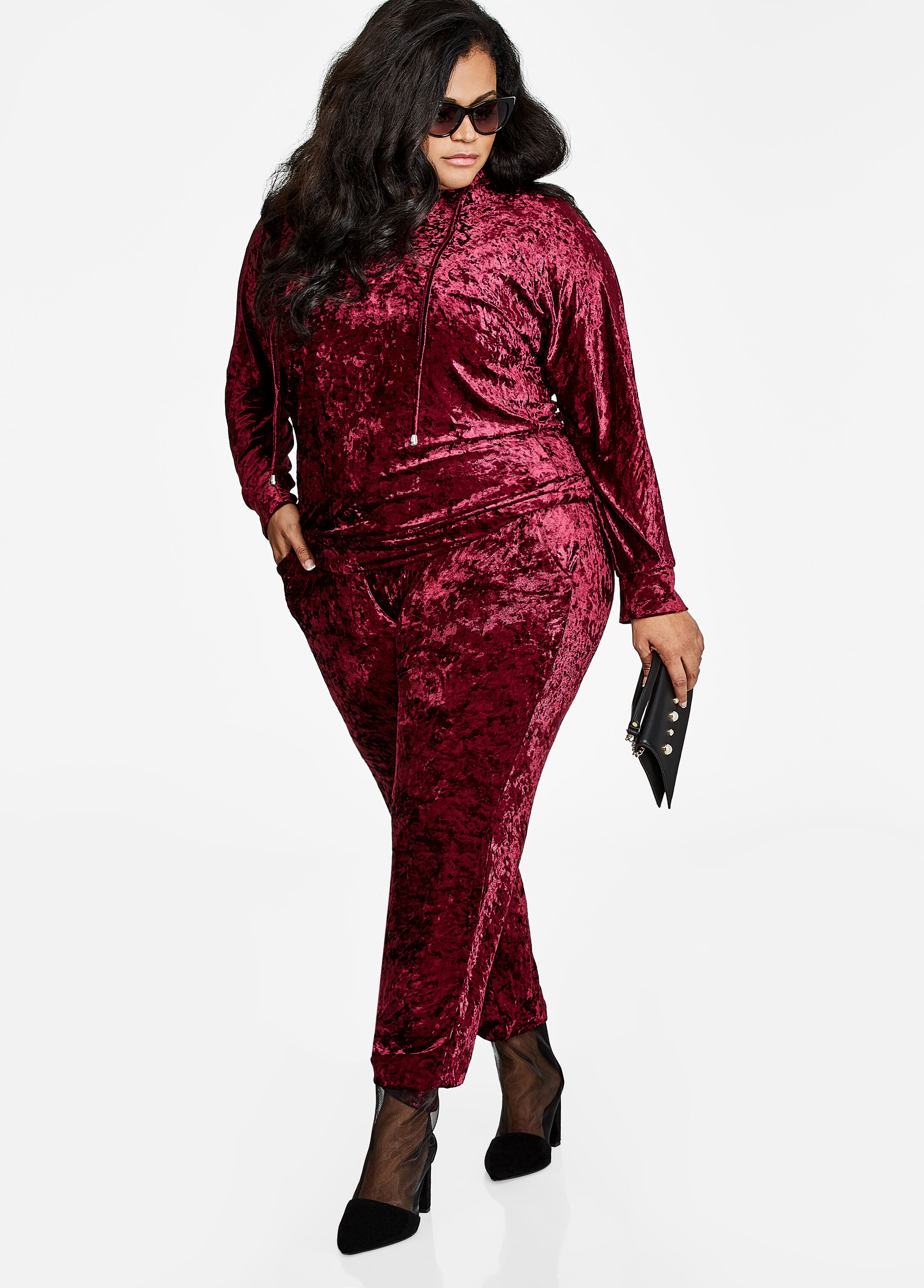 Plus Size Outfits - Crushed Velvet Pullover Hoodie Active Set