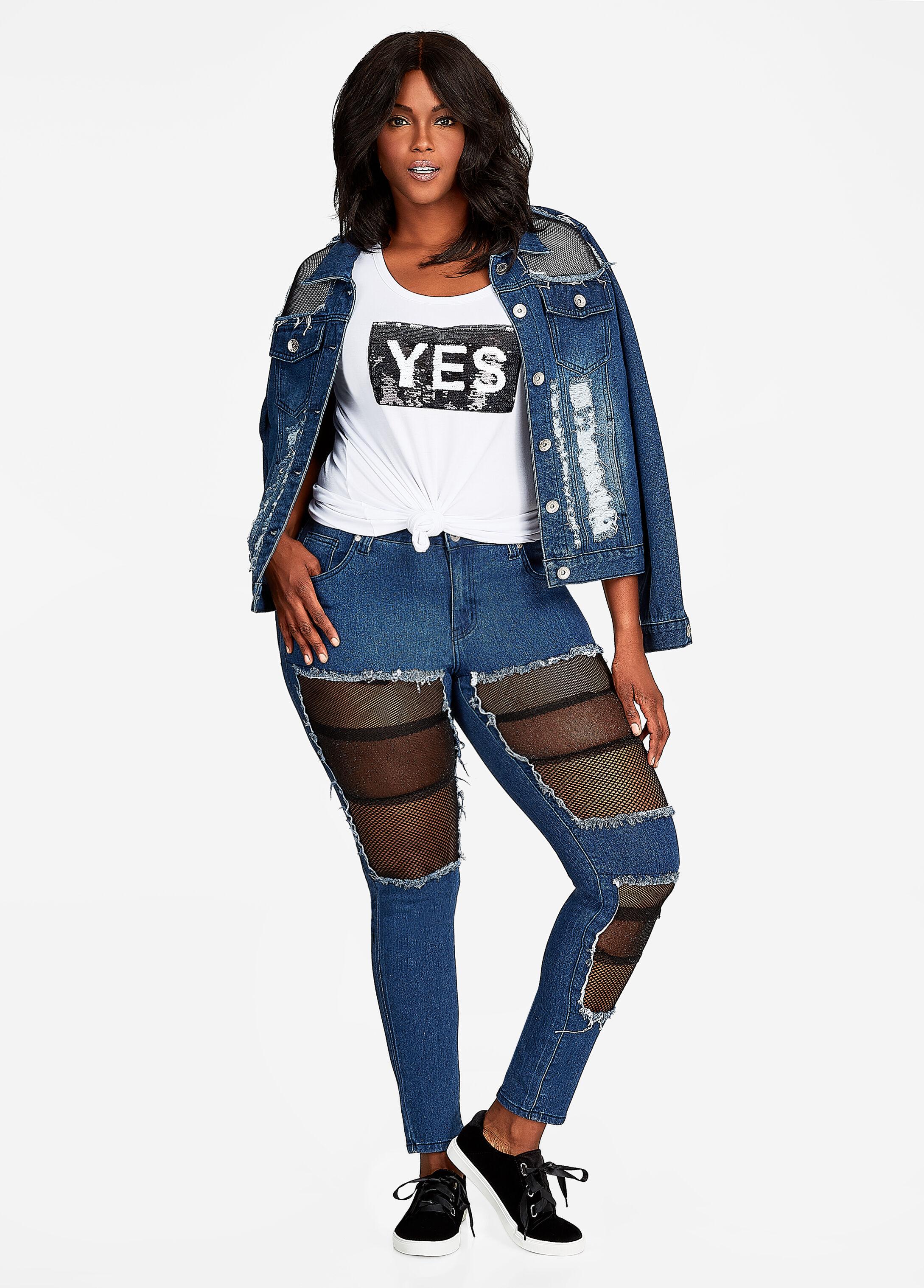Plus Size Outfits - Mesh Inset Destructed Denim Set