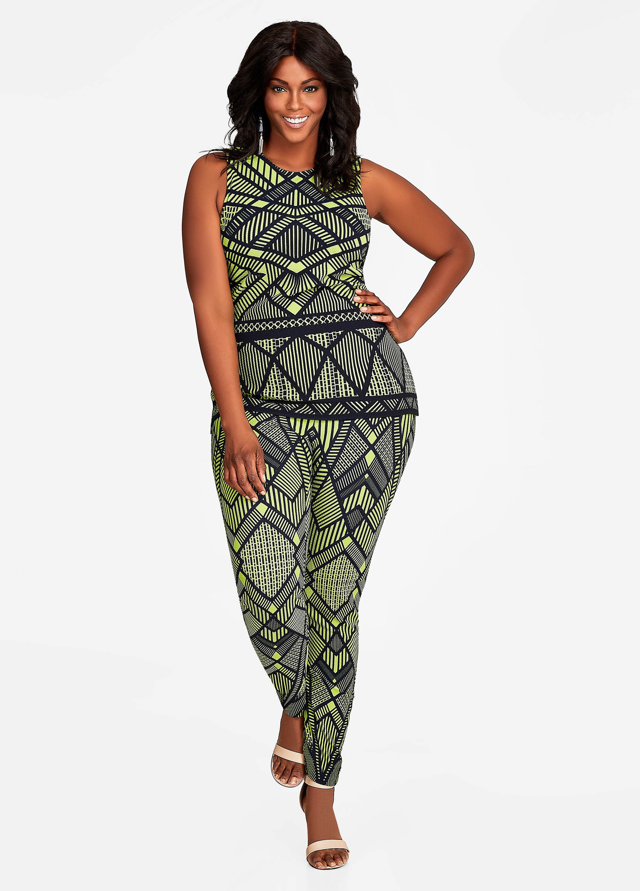 Plus Size Outfits - Geo Print Peplum Top and Pant Set