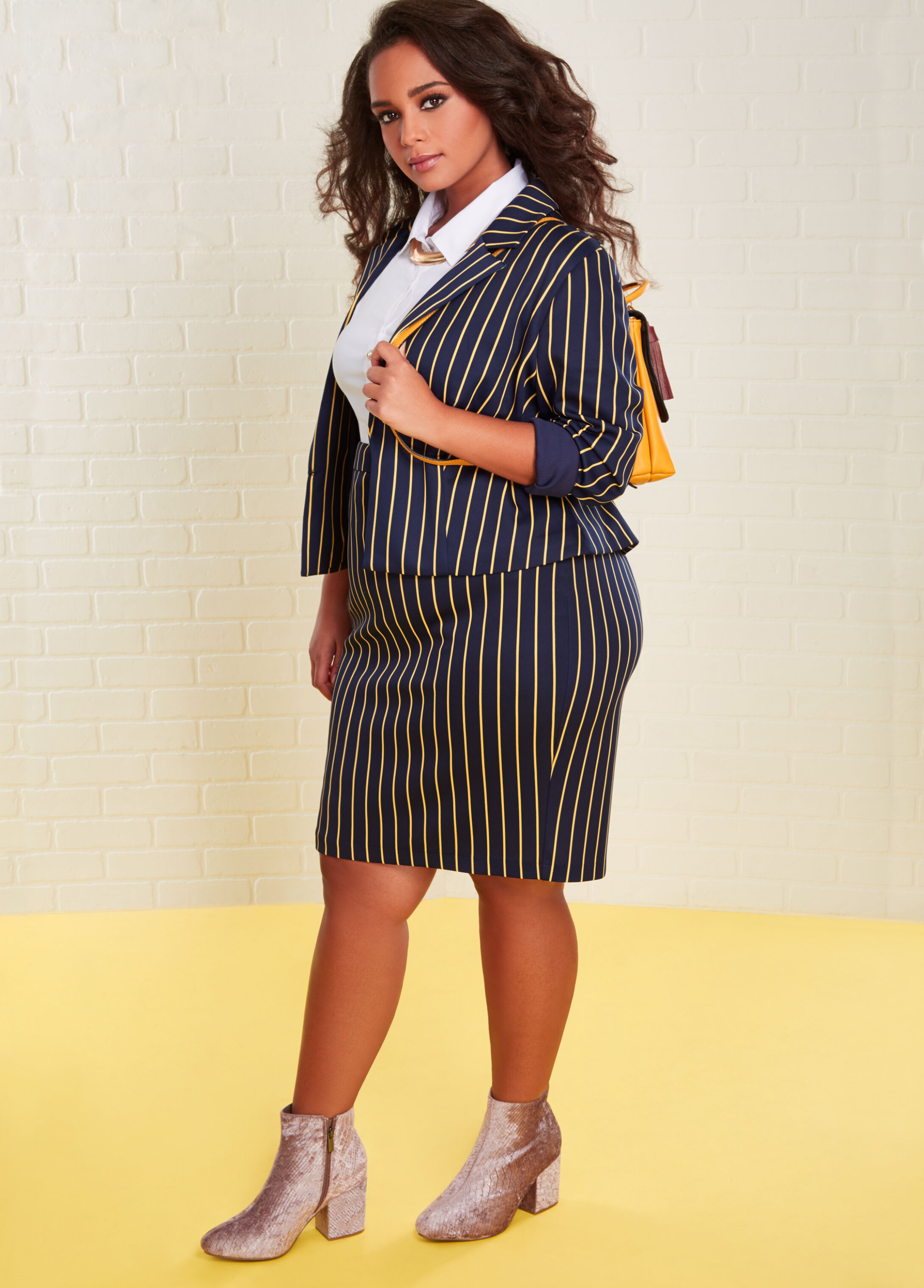 Plus Size Outfits - Striped Suit Set with Velvet Bootie