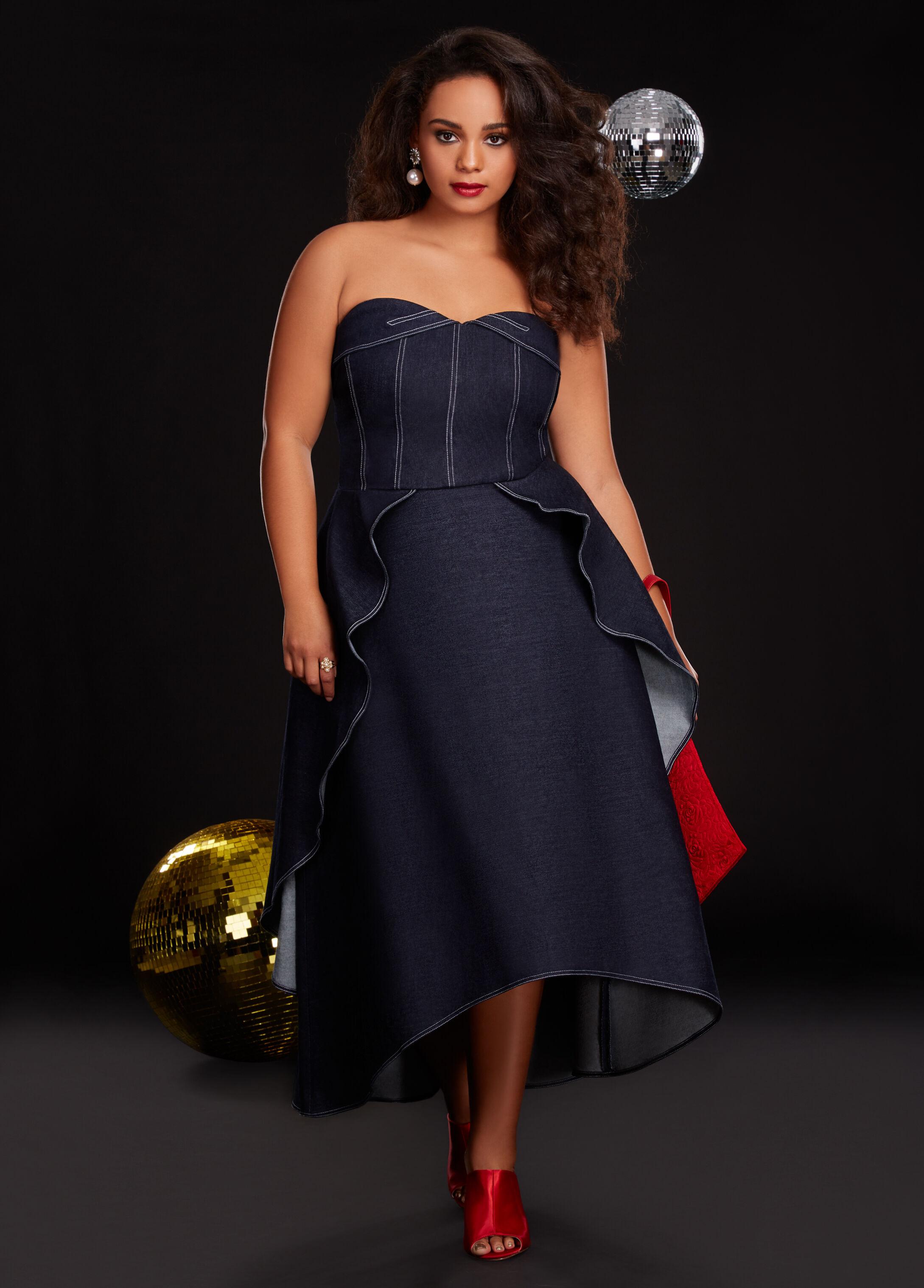 Plus Size Outfits - Denim Dress with Satin Heel