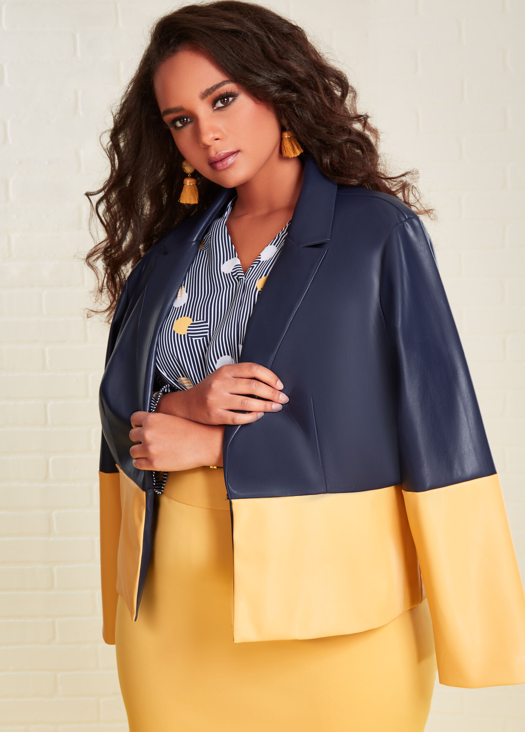 Plus Size Outfits - Colorblock Blazer with Blouse and Pencil Skirt