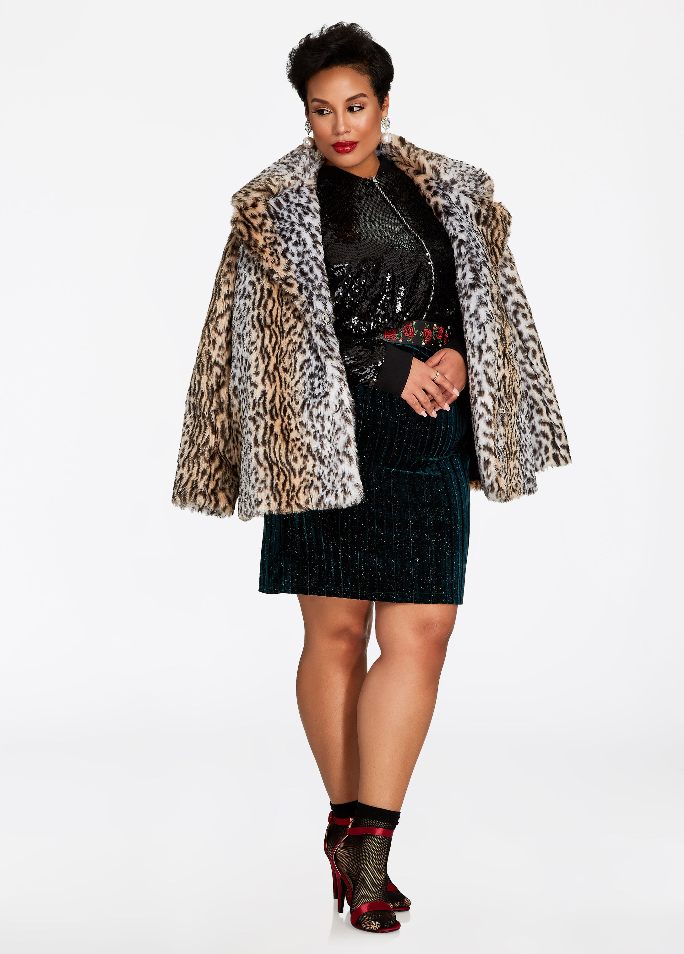 Plus Size Outfits - Cheetah Coat with Sequin Bomber and Velvet Dress