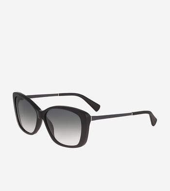Cat Eye Sunglasses With Leather