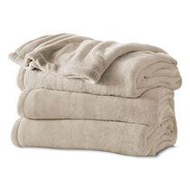 Sunbeam® King Channeled Microplush Heated Blanket, Sand