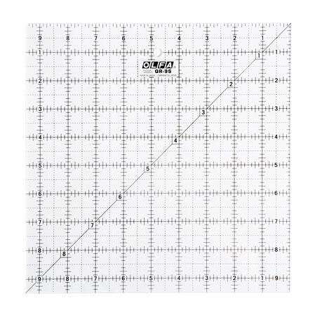 "9-1/2"" Square Frosted Acrylic Ruler (QR-9S)"
