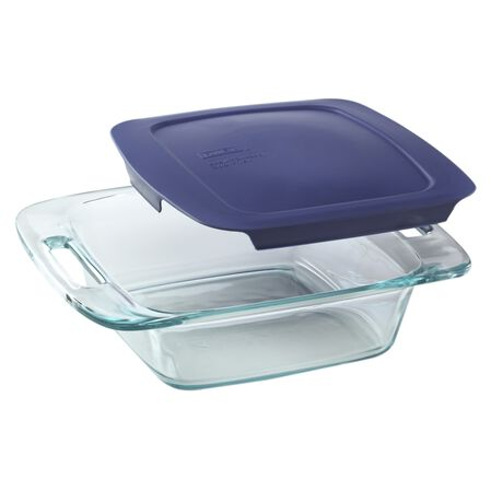 "Easy Grab® 8"" Square Baking Dish w/Blue Lid"