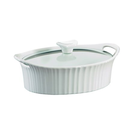 French White® 1.5-qt Oval Casserole w/ Glass Lid