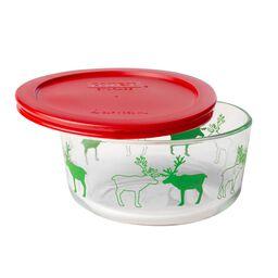 Storage Plus® 4 Cup Reindeer Holiday Dish w/ Red Lid