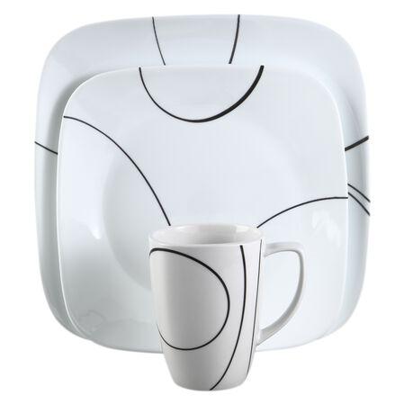 Square™ Simple Lines 16-pc Dinnerware Set w/ Bonus Bowls