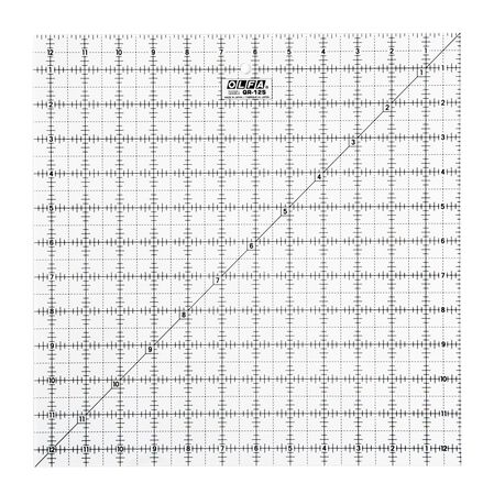 """12-1/2"""" Square Frosted Acrylic Ruler (QR-12S)"""