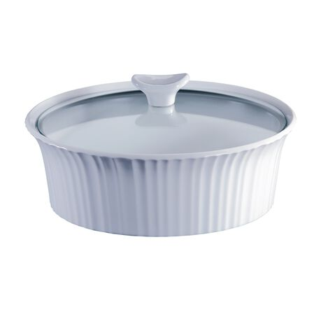 French White® 2.5-qt Round Casserole w/ Glass Lid