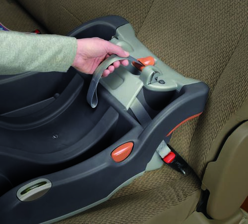 Center-pull LATCH tightening strap secures both sides of the KeyFit 30 Infant Car Seat base with one pull