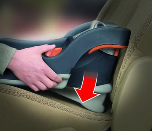 Spring-loaded leveling foot adjusts the KeyFit 30 Infant Car Seat Base to fit your vehicle seat