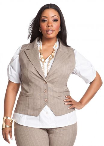 Pinstripe Tweed Vest