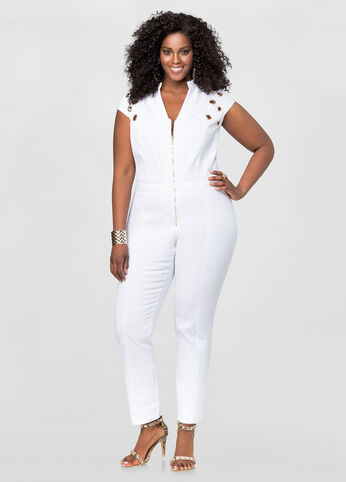 Grommet Detail Denim Jumpsuit-Plus Size Jeans-Ashley Stewart-010 ...
