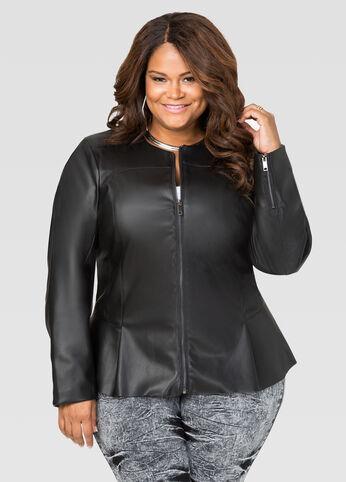 Seamed Faux Leather Peplum Jacket