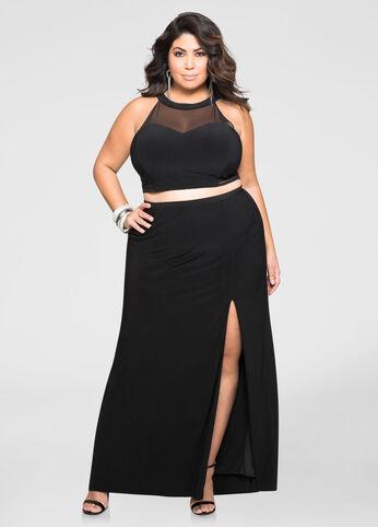 2-Piece Crop Top Gown Set