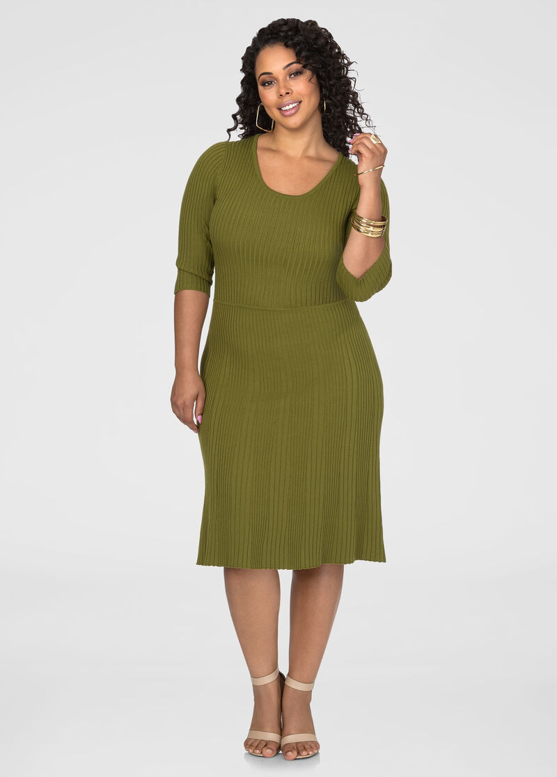Plus Size Ribbed A-Line Sweater Dress 010-D011609AS