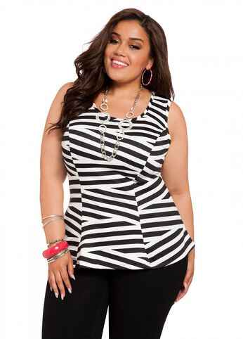Web Exclusive: Zigzag Ponte Peplum Top