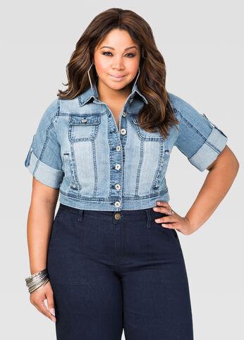 Cropped 3/4 Sleeve Jean Jacket-Plus Size Jeans-Ashley Stewart-034
