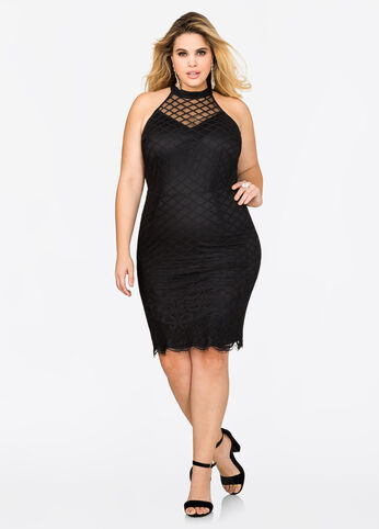 Halter Bodycon Grid Mesh Dress