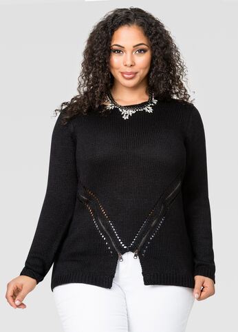 Angled Zip Front Pullover Sweater