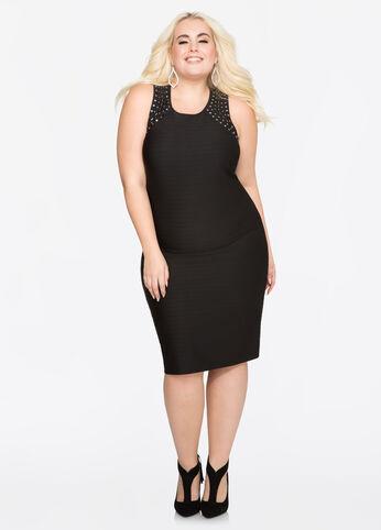 Back Cut-Out Stud Shoulder Dress
