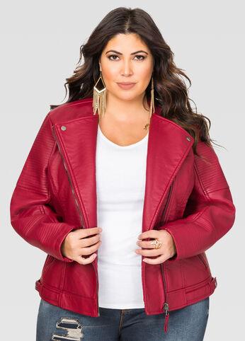 Heavy Trapunto Stitch Moto Jacket
