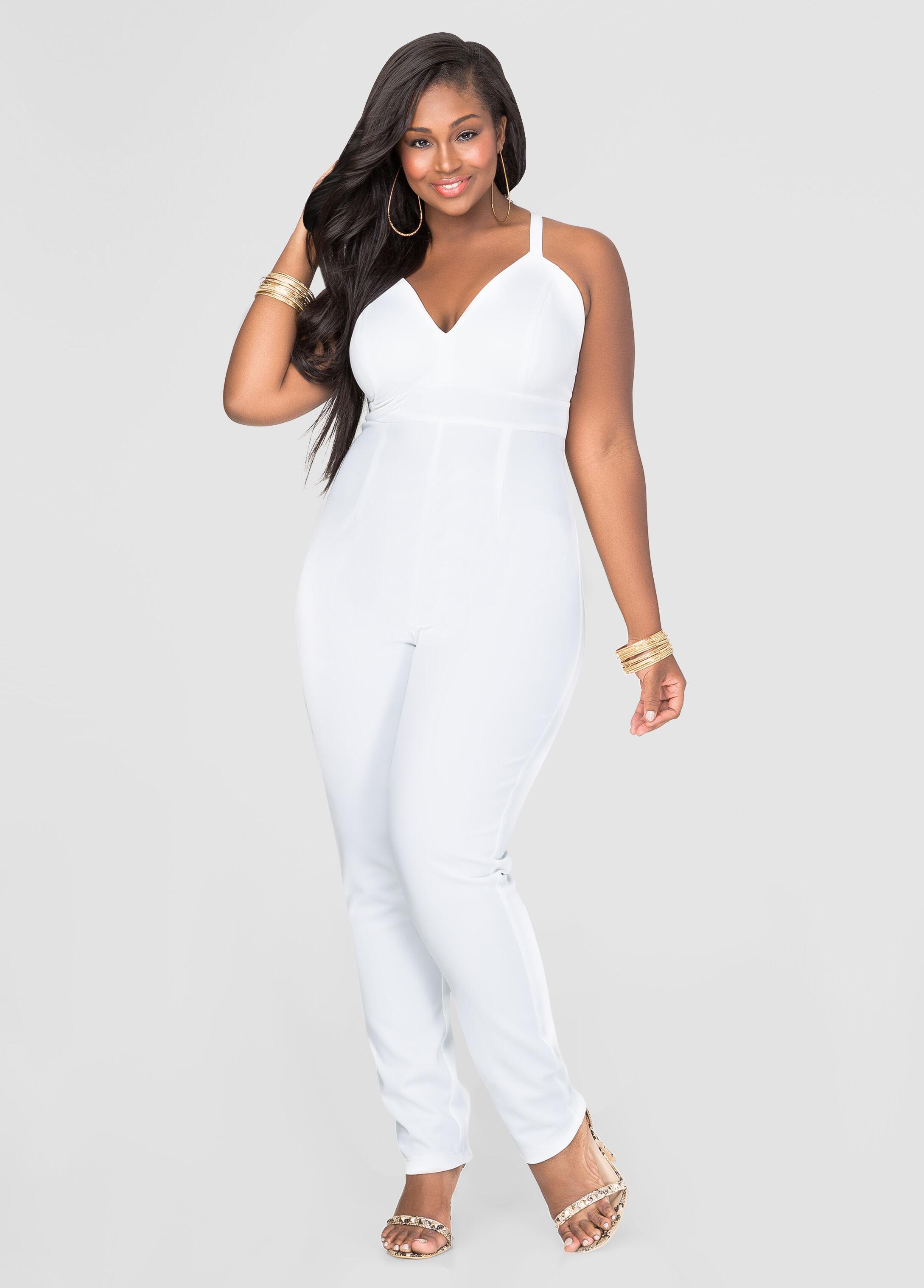b47353483cb Banded scuba jumpsuit plus size dresses ashley stewart jpg 346x482 Plus size  white dressy jumpsuit
