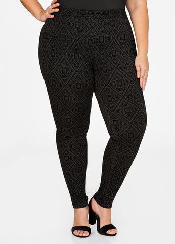 Geo Velvet Flocked Legging