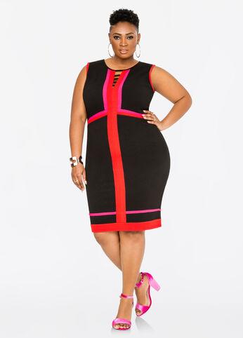 Exposed Zip Colorblock Dress