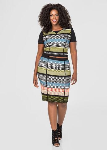 Geo Sweater Slim Skirt