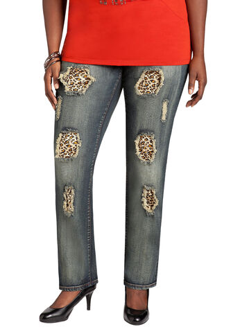 Leopard Embellished Denim