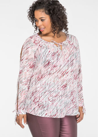 Sheer Abstract Slit Sleeve Blouse