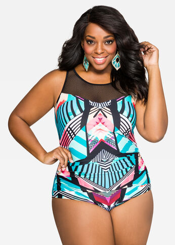 Mesh Top Swimsuit with Tribal Print