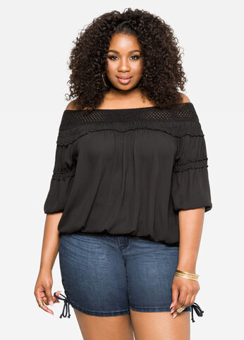 Smocked Off-Shoulder Top with Crocheted Detail