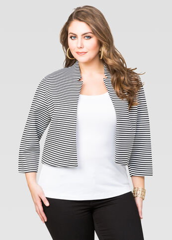 Cropped Striped Scuba Jacket