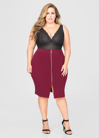 Zip Front Ponte Pencil Skirt