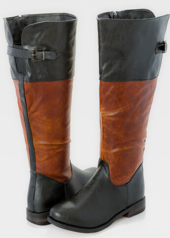 Mixed Media Back Buckle Flat Tall Boot - Extra Wide Width Wide Calf