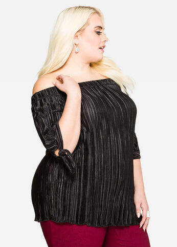 Plissé Pleat Off-Shoulder Top