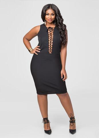 Deep V Lace-Up Front Dress