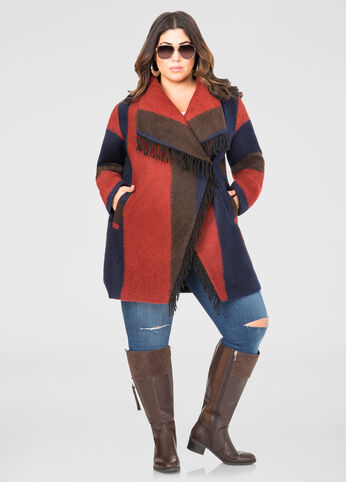 Ombre Fringe Wrap Coat