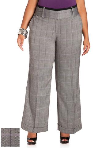 Cuffed Plaid Pants