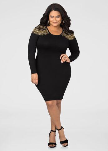 Stud Shoulder Bodycon Sweater Dress
