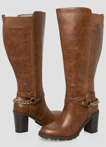 Chain Knee High Boot - Wide Calf Wide Width