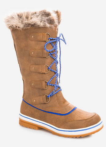 Lace-Up Fur Top Snow Boot - Wide Calf, Wide Width
